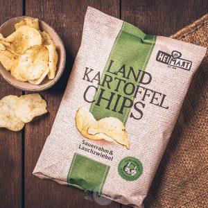 Tüte Heimart Landkartoffelchips Sauerrahm und Lauchzwiebel