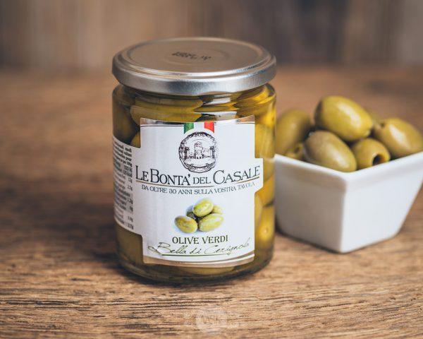 Glas grüne Oliven von Le Bonta´del Casale - Olive verdi