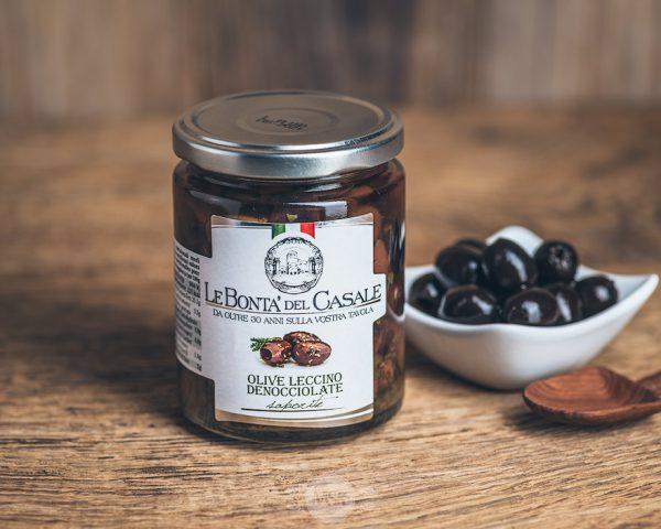 Glas schwarze Oliven von Le Bonta´del Casale - Olive leccino denocciolate