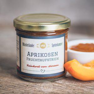 Glas Aprikosen Fruchtaufstrich von der Münsterländer Speisekammer