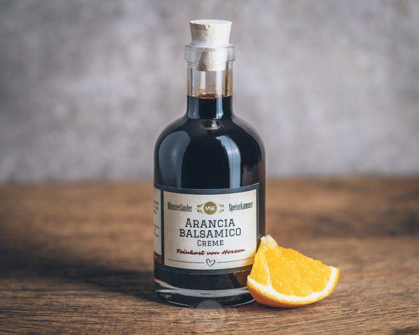 Flasche Arancia Balsamico Creme von der Münsterländer Speisekammer
