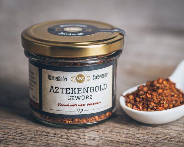 Glas Aztekengold Gewürz von der Münsterländer Speisekammer