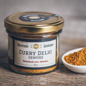 Glas Curry Delhi Gewürz von der Münsterländer Speisekammer