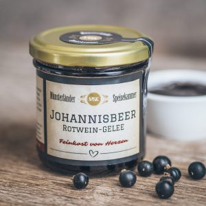 Glas Johannisbeer-Rotwein-Gelee von der Münsterländer Speisekammer