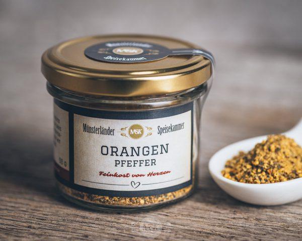 Glas Orangen Pfeffer von der Münsterländer Speisekammer