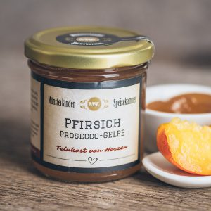 Glas Pfirsich-Prosecco-Gelee von der Münsterländer Speisekammer