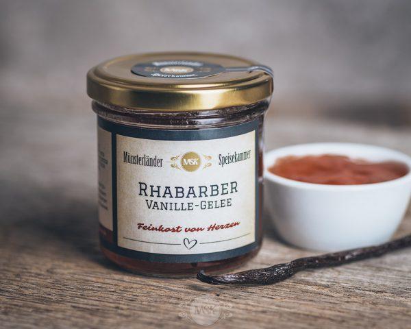 150 Gramm Glas Rharbarber-Vanille-Gelee von der Münsterländer Speisekammer