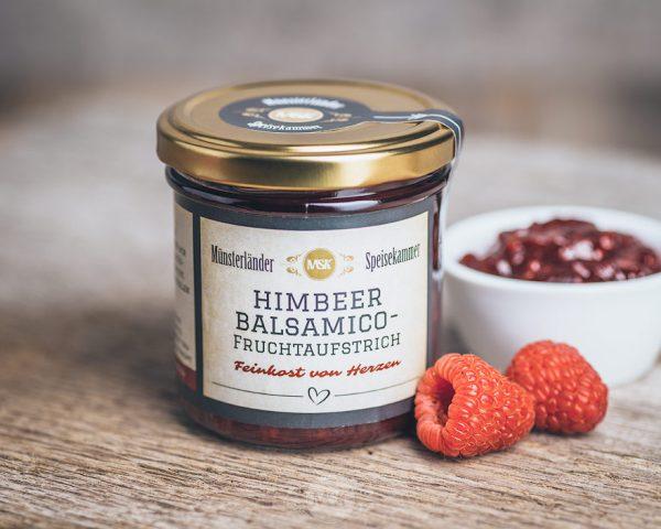 Glas Himbeer-Balsamico Fruchtaufstrich von der Münsterländer Speisekammer